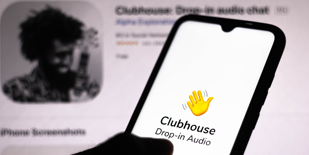 Clubhouse logo seen displayed on a smartphone screen twitter